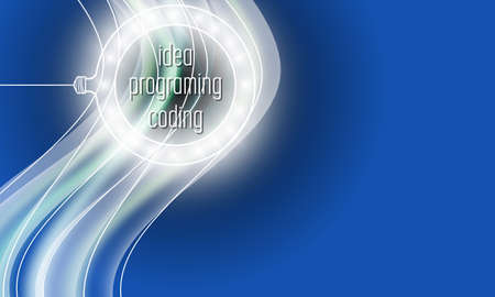 Vector abstract with the words idea, coding, programing and circular lights
