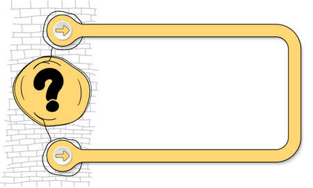 text frame: Yellow frame for text and hand written question mark
