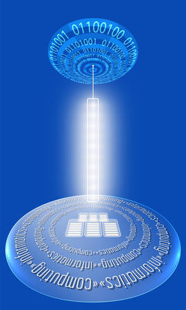 informatics: Futuristic abstract background with binary code and circular object with the words computing, informatics
