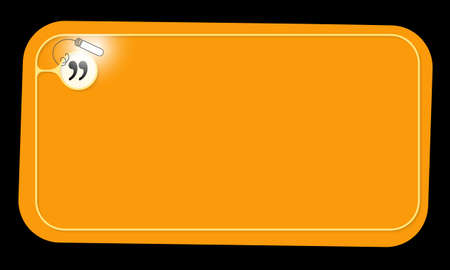 Vector orange frame and quotation mark with lighting