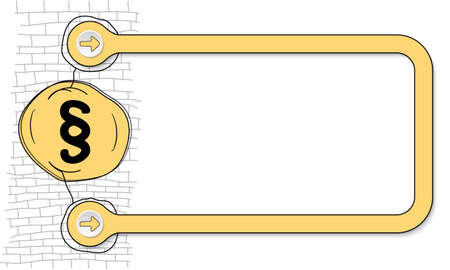 Yellow frame for text and hand written paragraph mark Illustration