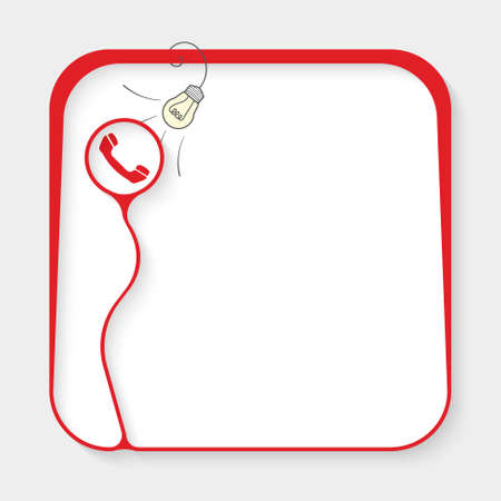 Red box for fill your text and phone icon Illustration