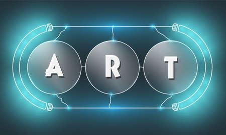 Vecteur toile de fond futuriste vecteur avec les mots art et lumières bleues