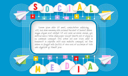 Text box with sample text and inscription  social media Illustration
