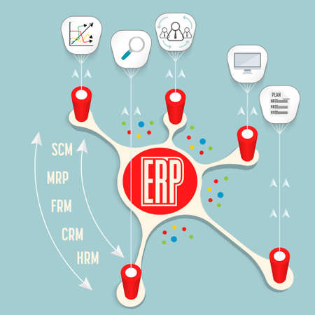 Vector info graphic with theme of ERP Illustration
