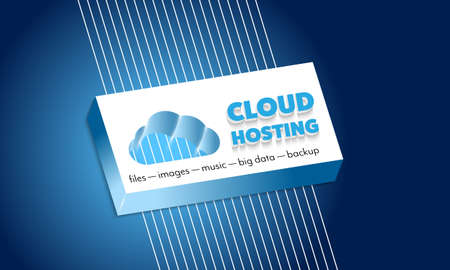 Inscription cloud hosting with plastic symbol of cloud Illustration