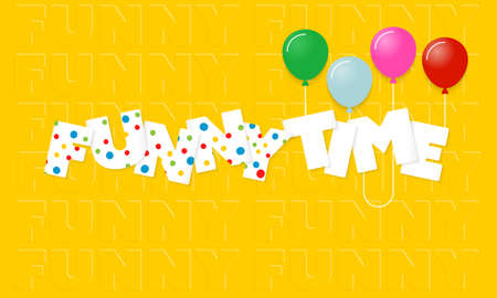 Vector inscription funny time and colorful balloons Illustration