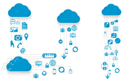 Set of cloud symbols and joined internet symbols Illustration