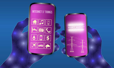 Two abstract hands holding a smartphone with internet and energy symbols