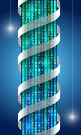 Vector vertical banner with binary code and chromosome spiral