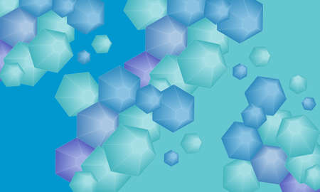 Blue and green abstract geometric background with hexagons Illustration