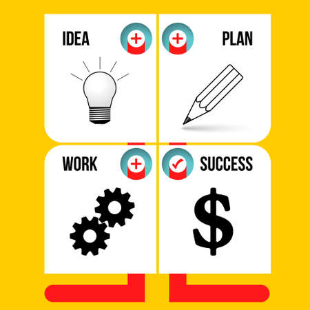 Info graphic with theme of idea, plan, work, success