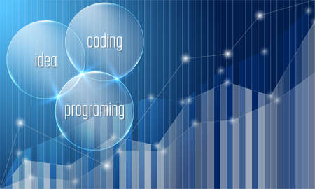 Inscription idea, coding, programming and abstract graph