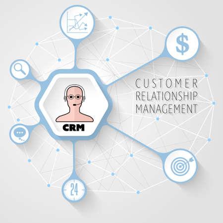 Concept d'illustration vectorielle pour les documents imprimés, le site Web, le matériel promotionnel sur le thème de la gestion de la relation client.