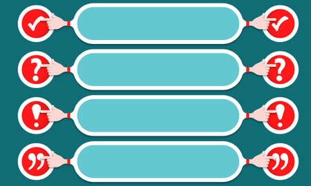 Four text boxes width check box, exclamation mark, question mark and quotation mark. Illustration