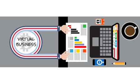 Vector abstract banner with topic of virtual business. Illustration