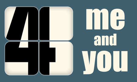 You and me typography design for greeting card