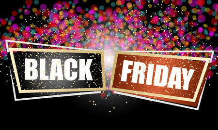 Two abstract frames with Black Friday text. Vector concept illustration for printed materials, website, promotional materials.