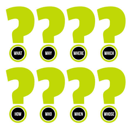 Set of eight question marks with question words. Vector concept illustration for printed materials, website, promotional materials. Illusztráció