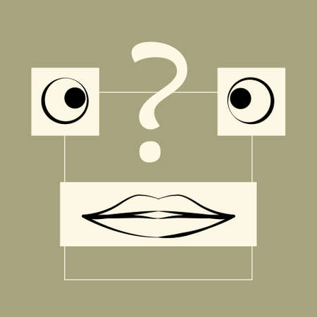 Abstract face with question mark. Illustration