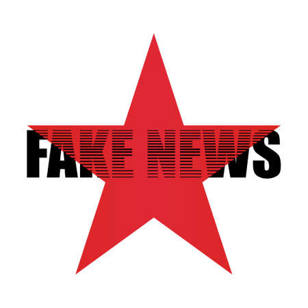 Inscription fake news with red star. Illustration