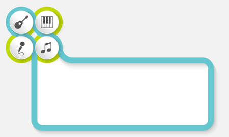 Text frame for your text with music symbols Ilustração