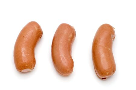 object on white food small sausage