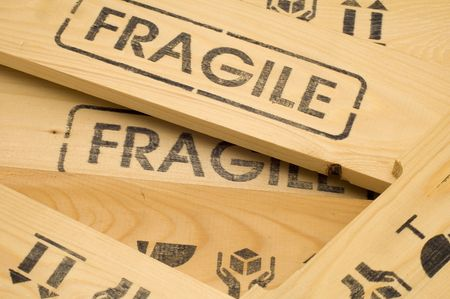 wooden crate with fragile content