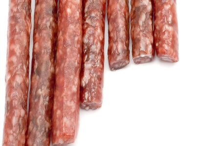 object on white - food smoked sausage
