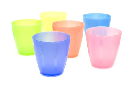 object on white - kitchen utensil plastic cups photo