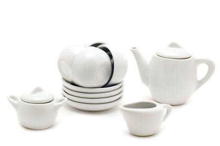 object on white - kitchen utensil White tea service Standard-Bild