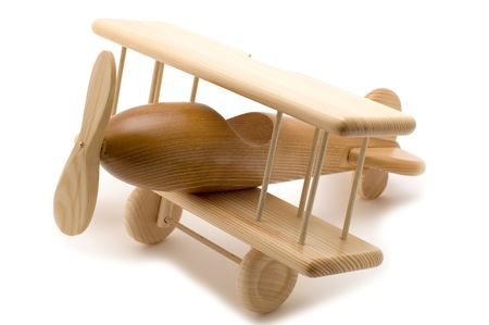 object on white - wooden toy airplane