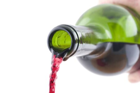 object on white - red wine bottle on white