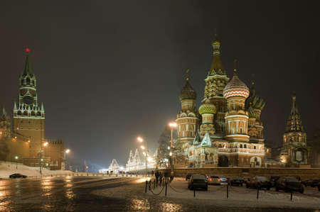 Russia Moscow red square wall and Kremlin tower Standard-Bild
