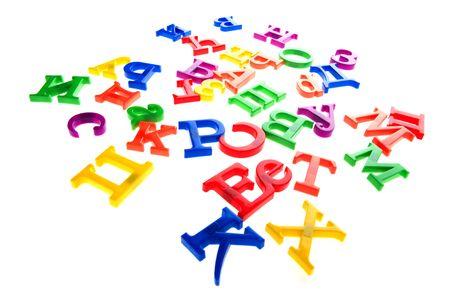 Objekt auf weiß - Spielzeug aus Kunststoff Buchstaben und Zahlen Standard-Bild - 6649960