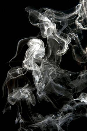object on black - smoke close up