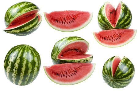 Objekt auf weiß - essen Wassermelone close up  Standard-Bild - 7481436