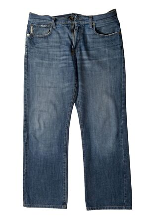 object on white - clothes jeans close up Stock Photo