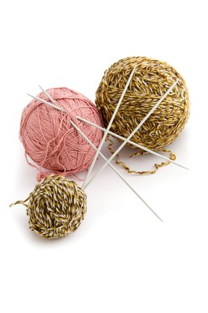 object on white - sewing Yarn close up Stock Photo