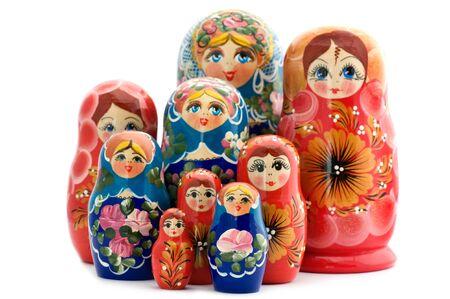 object on white - toy wooden doll matrioshka Standard-Bild