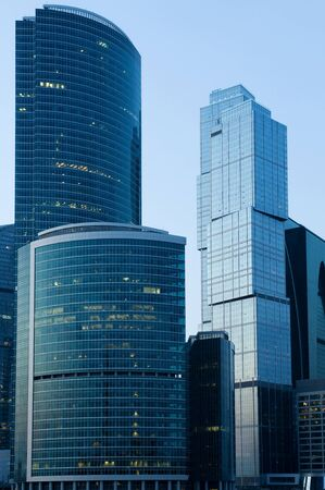 Russia City Modern skyscrapers in Moscow at a evening