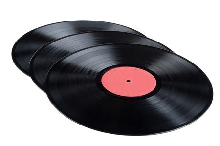 Objekt auf weiß - schwarzen Vinyl-LP Standard-Bild - 10013214