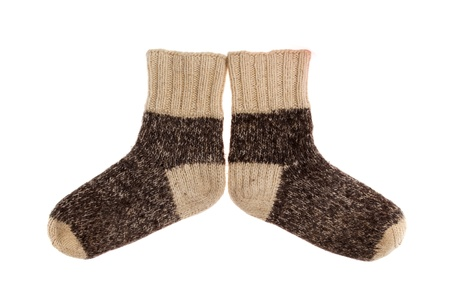 object on white - wool socks close up