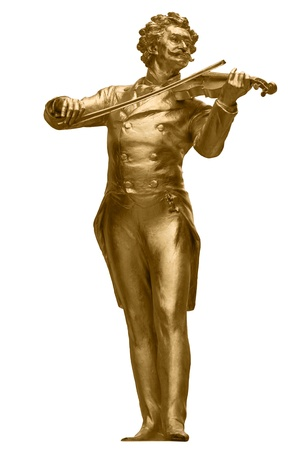 Johann Strauss Golden Statue in Vienna StadtPark isolated on white Imagens