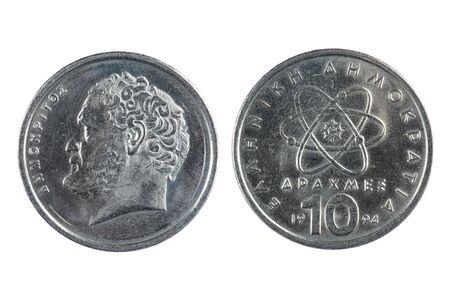Isoliert Objekt Auf Weiß Münzen Griechenland Lizenzfreie Fotos