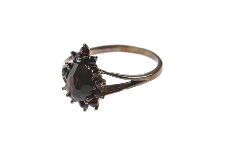 ring with pomegranate stone isolated on white