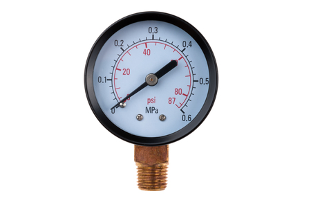 radial pressure gauge isolated on white background