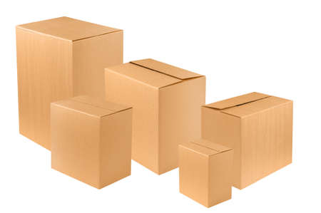 set of new blank brown cardboard box