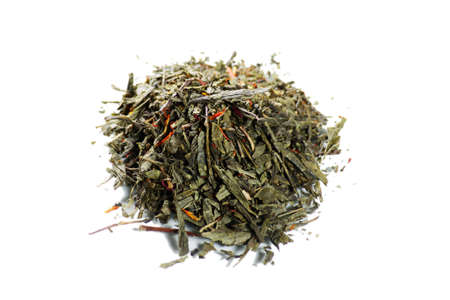 Green tea isolated on a white photo