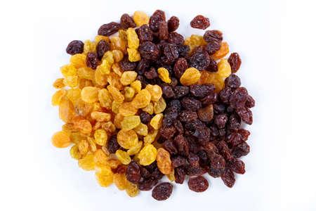 sultana: Heap of sultana raisins on white background Stock Photo